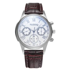 Noblag Monsieur Luxury Watches White Dial Brown Leather Strap 40mm