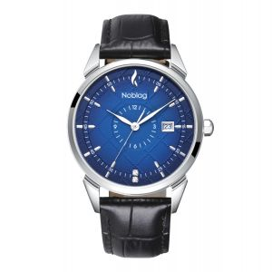 The N-Classic De Noblag Luxury Blue Radiant Dial Watches For Men Black Leather Strap 38mm