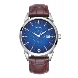The N-Classic De Noblag Luxury Blue Radiant Dial Watches For Men Brown Leather Strap 38mm