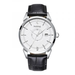 The N-Classic De Noblag Luxury Men's Watch 38mm White Dial Black Leather