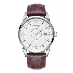 The N-Classic De Noblag Luxury Men's Watch 38mm White Dial Brown Leather