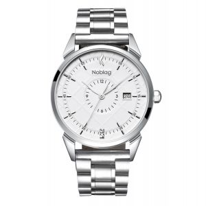 The N-Classic De Noblag Men's Luxury Stainless Steel Watches White Dial 38mm