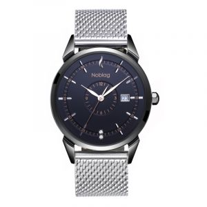 The N-Classic De Noblag Luxury Men's Watch 38mm Black Dial Stainless Steel Silver Mesh Bracelet