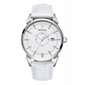 The N-Classic De Noblag Luxury Men's Watch 38mm White Dial White Leather