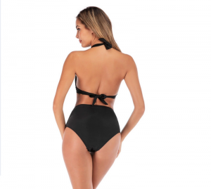 Noblag Luxury Halter Bikini Top Full Coverage High Waist Swim Bikini Bottom Black Women's Swimsuits