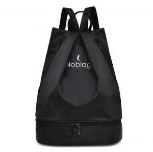 Noblag Luxury Waterproof Travel Drawstring Backpack Bag With Shoe & Wet Compartment Black