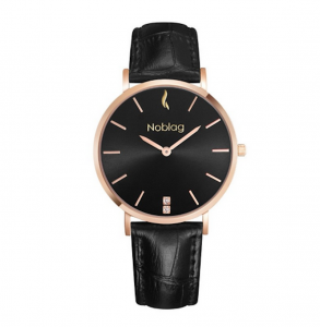 Noblag Luxury Minimalist Black Watch For Women Leather Strap Black Dial 36mm