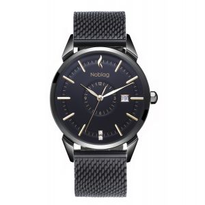 The N-Classic De Noblag Luxury Men's Mesh Watches Black Stainless Steel  Bracelet 38mm
