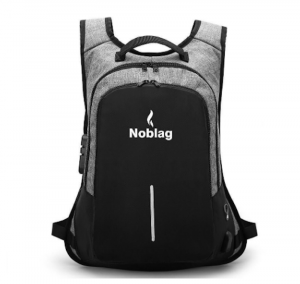 Noblag Luxury Travel Laptop Backpack School Anti-Theft USB Port Grey