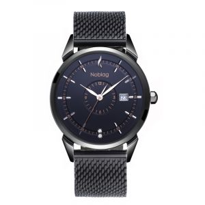 The N-Classic De Noblag Luxury Men's Watch 38mm Black Dial Stainless Steel Mesh Bracelet Black