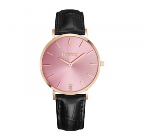 Noblag Flame Luxury Minimalist Women's Watches Black Leather Strap Pink Dial 36mm