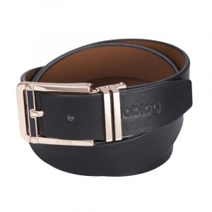 Noblag Luxury Men's Dress Belts Clamp Closure Calfskin Leather Stainless Steel Buckle Gold-Tone Black