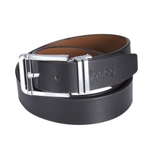 Noblag Luxury Best Men's Dress Belts Calfskin Leather Clamp Closure Stainless Steel Buckle Black