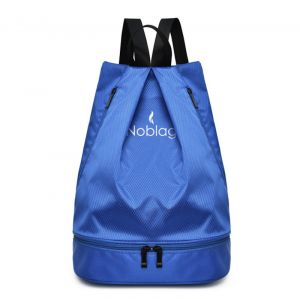 Noblag Luxury Waterproof Travel Drawstring Backpack Bag With Shoe Compartment Blue