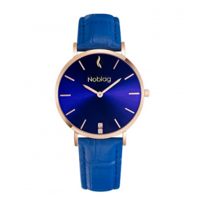 Noblag Luxury Minimalist Women's Watches Blue Leather Strap Blue Sunray Dial 36mm