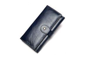 Noblag Luxury Leather Women Wallet Wristlet Blue