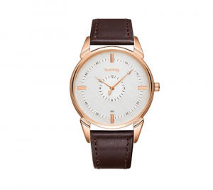 Noblag Luxury Classic Watches For Men & Women White Dial Brown Strap
