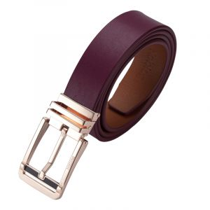 Noblag Luxury Men's Dress Belts Clamp Closure Calfskin Leather Stainless Steel Buckle Gold-Tone Burgundy