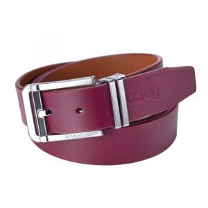 Noblag Luxury Men's Dress Belts Clamp Closure Calfskin Leather Stainless Steel Buckle Burgundy