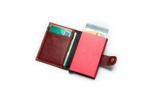 Noblag Luxury Slim Clip Wallet For Men & Women RFID Cowhide Leather Red
