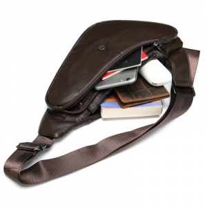 Noblag Luxury Men's Chest Bags Genuine Leather Triangle Coffee Sling Bag