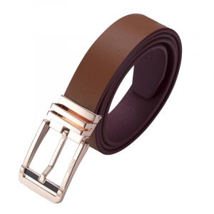 Noblag Luxury Men's Dress Belts Clamp Closure Calfskin Leather Stainless Steel Buckle Gold-Tone Cognac