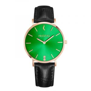 Noblag Luxury Minimalist Women's Watches  Black Leather Green Dial 36mm