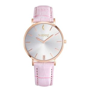 Noblag Luxury Minimalist Women Watches Online Pink Leather Strap 36mm