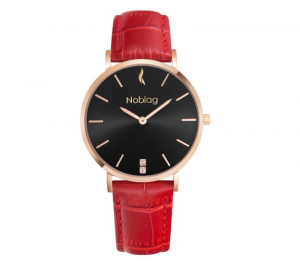 Noblag Flame Luxury Minimalist Rose Gold Watches For Women Red Leather Strap Black Dial 36mm