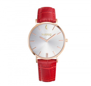 Noblag Luxury Minimalist Gold Watch For Women Red Leather Strap Champagne 36mm
