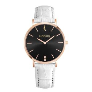 Noblag Luxury Minimalist Waatch For Women White Leather Strap Black Dial 36mm