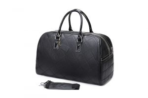 Noblag Luxury Leather Duffel Bag Unisex Weekender Travel Overnight Bag Black