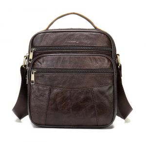 Noblag Luxury Men's Leather Wax Coffee Messenger Bag Crossbody Sling Backpack Black Travel Bag