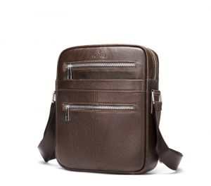 Noblag Luxury Men's Leather Messenger Bag Crossbody Sling Backpack Coffee Travel Bag