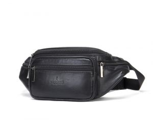 Noblag Luxury Leather Unisex Belt Bags Multi Compartment Sling Bags Fanny Pack Black