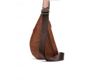 Noblag Luxury Leather Sling Chest Bag For Men Waterproof Fanny Pack Messenger Chest Bag Brown