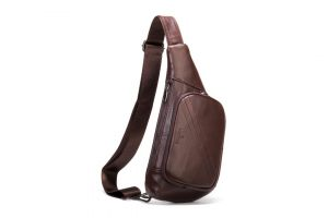 Noblag Luxury Coffee Leather Sling Bag Backpacks For Travel For Men Waterproof Fanny Pack Messenger Chest Bag
