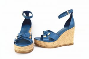 Noblag Luxury Genuine Italian Leather Wedge Sandals For Women Blue