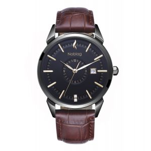 The N-Classic De Noblag Luxury Men's Watches Stainless Steel Case Ronda Brown Strap 38mm