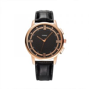 Noblag Luxury Men's Stainless Steel Black Watch Leather Strap