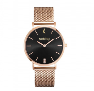 Noblag Luxury Mesh Watches For Women Rose Gold Stainless Steel Mesh Watch Bracelet Black dial- 36mm