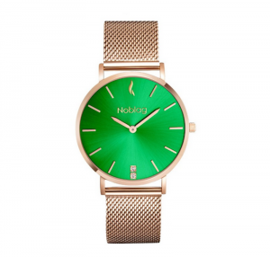Noblag  Luxury Women's Mesh Watches Rose Gold Stainless Steel Mesh Watch Bracelet Green dial- 36mm