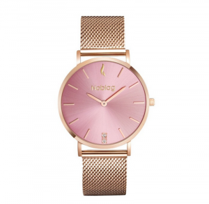 Noblag Luxury Mesh Women's Watches Rose Gold Stainless Steel Mesh Bracelet Pink Dial - 36mm