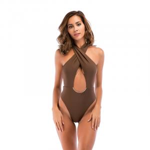 Noblag Luxury Goddess One-Piece Swimsuit Cross Khaki