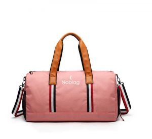 Noblag Luxury Travel Duffel Bag Gym Shoe Compartment Waterproof PInk