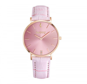 Noblag Flame Luxury Minimalist Women's Watches Pink Leather Strap Pink Dial 36mm