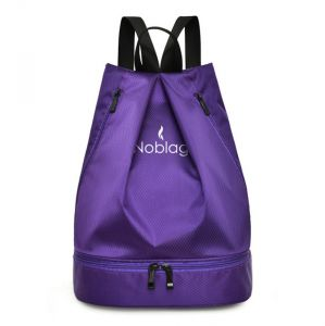 Noblag Luxury Waterproof Purple Travel Drawstring Backpack Bag With Shoe Compartment