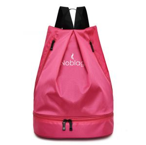 Noblag Luxury Waterproof Travel Drawstring Backpack Bag With Shoe & Wet Compartment Pink