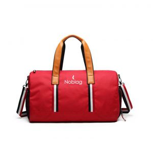Noblag Luxury Travel Duffel Bag Gym Shoe Compartment Waterproof Red