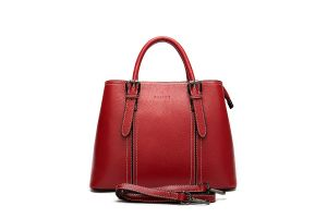 Noblag Luxury Top Layer Leather Tote Handbag For Women  Red